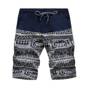 Tribal Geometric Print Drawstring Board Shorts - Cadetblue + White - Xl