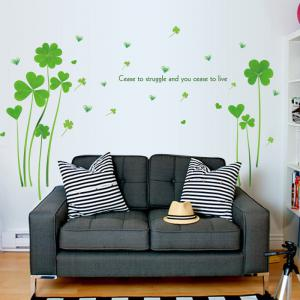 Heart Clover Inspirational Quotes Vinyl Wall Sticker - GREEN 60*90CM