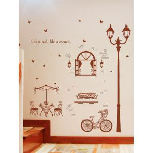 Bicycle Lamppost Removable Vinyl Wall Sticker - DEEP BROWN 60*90CM