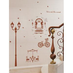 Bicycle Lamppost Removable Vinyl Wall Sticker -
