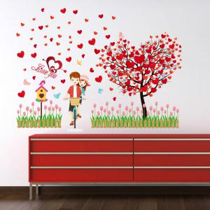 Tree Heart Lovers Removable Vinyl Wall Sticker - RED 60*90CM