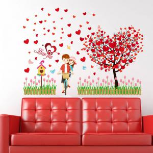 Tree Heart Lovers Removable Vinyl Wall Sticker - Red - 60*90cm