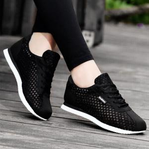 Breathable Mesh Suede Insert Athletic Shoes - Black - 37