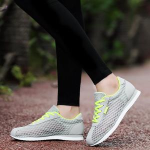 Breathable Mesh Suede Insert Athletic Shoes - GRAY 37