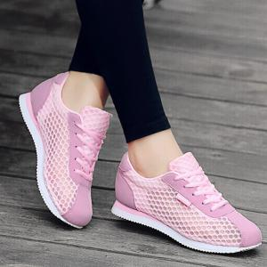 Breathable Mesh Suede Insert Athletic Shoes - Pink - 38
