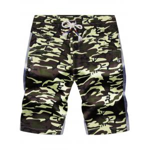 Color Block Panel Pockets Drawstring Camouflage Shorts - Army Green Camouflage - 3xl