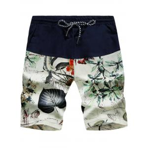 3D Leaves Print Drawstring Board Shorts - Floral White - Xl