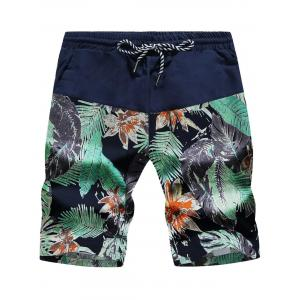 Leaves and Floral Print Drawstring Board Shorts - Cadetblue And Green - Xl