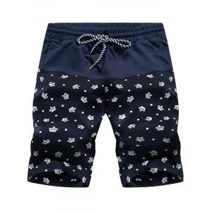 Crown Print Panel Drawstring Board Shorts - Crown Pattern - Xl