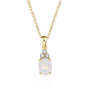 Link Chain Faux Crystal Pendant Necklace