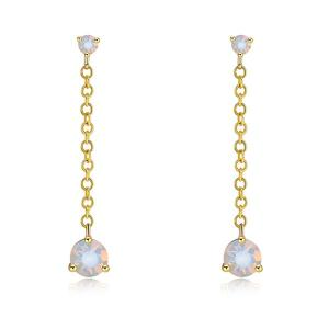 Link Chain Faux Diamond Drop Earrings