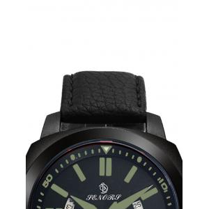 Faux Leather Strap Double Literal Calendar Quartz Watch - BLACK AND GREEN