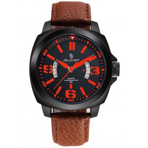 Faux Leather Strap Double Literal Calendar Quartz Watch