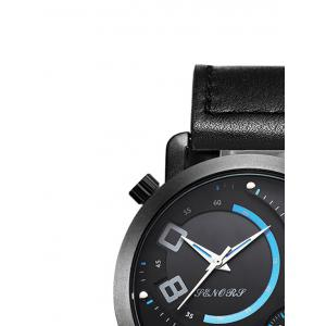 Faux Leather Dual Quartz Watch -