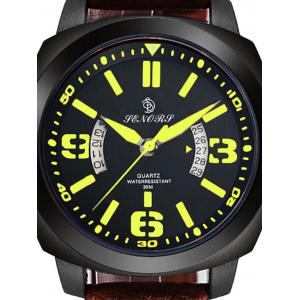 Faux Leather Strap Double Literal Calendar Quartz Watch - Brun et Or