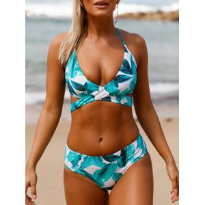 Tropical Print Criss Cross Halter Bikini Set
