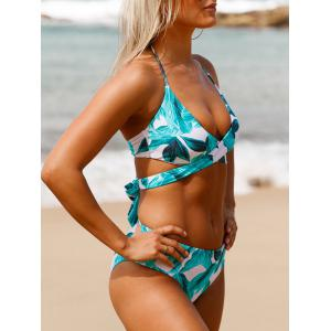 Tropical Print Criss Cross Halter Bikini Set - BLUE GREEN L