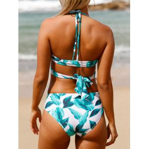 Tropical Print Criss Cross Halter Bikini Set -