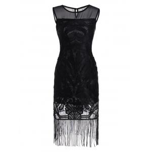 Mesh Insert Fringed Mini Dress