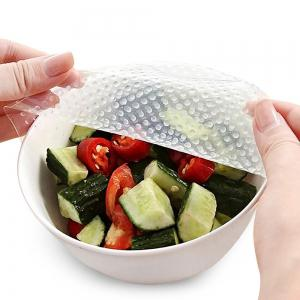 4Pcs Food Fresh Keeping Reusable Silicone Plastic Wrap - Transparent - 9.8*9.8*0.1cm