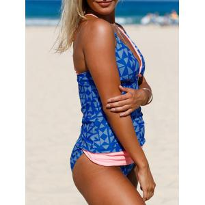Backless Strappy Plunging Neckline Tankini Set - ROYAL S