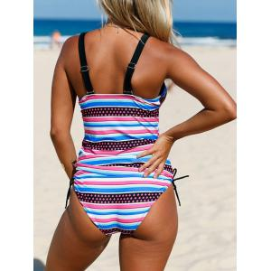Plunging Neckline Striped Backless Tankini Set -