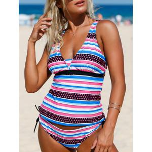Plunging Neckline Striped Backless Tankini Set - COLORMIX XL