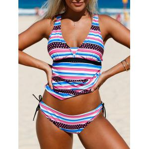 Plunging Neckline Striped Backless Tankini Set