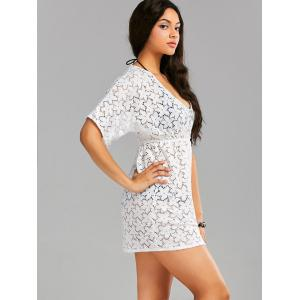 Empire Waist Short Lace Cover Up Dress - WHITE ONE SIZE