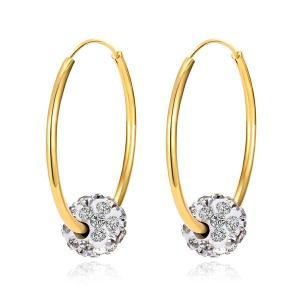 Rhinestoned Ball Circle Hoop Earrings