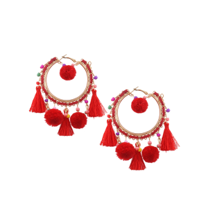Beaded Tassel Fuzzy Ball Hoop Drop Earrings - Red