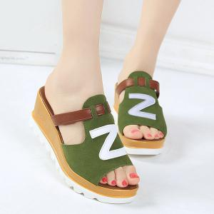 Wedge Heel Suede Slippers - Green - 39