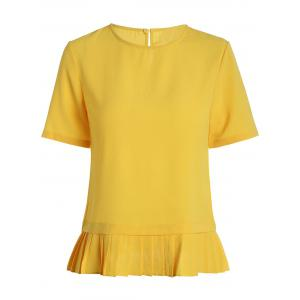 Round Neck Pleated Hem Blouse