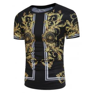 Short Sleeve 3D Florals and Dragon Print T-shirt