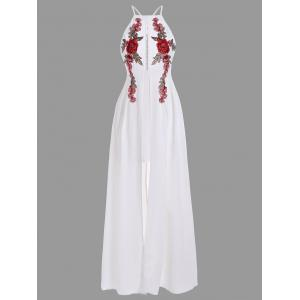 Openwork Floral Embroidered Slip Dress - White - Xl