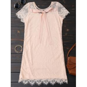 Self Tie Eyelash Lace Mini Dress