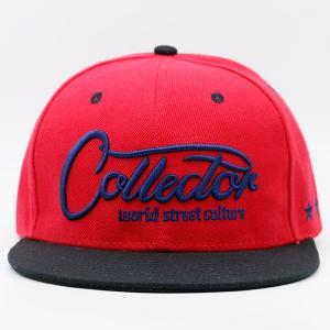 Letters Stars Embroidered Flat Brim Baseball Hat - RED