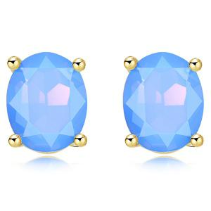 Oval Artificial Gem Inlaid Stud Earrings - Blue
