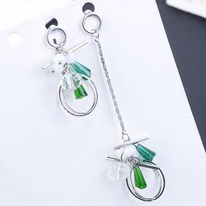Asymmetric Artificial Crystal Alloy Circle Drop Earrings - Silver