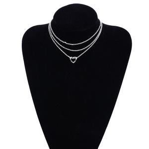 Layer Metal Hollow Out Heart Pendant Necklace - Silver