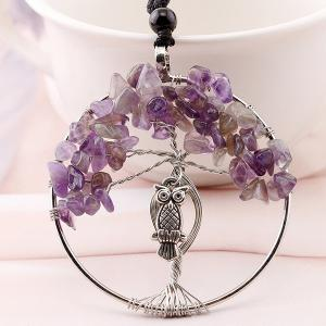 Artificial Crystal Life Tree Owl Engraved Necklace - Light Purple - Pattern C