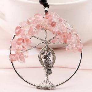 Artificial Crystal Life Tree Owl Engraved Necklace