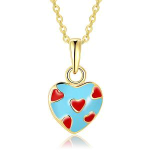 Pleting Heart Design Pendant Necklace - BLUE