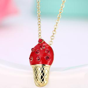 Ice Cream Shape Rhinestone Inlay Pendant Necklace