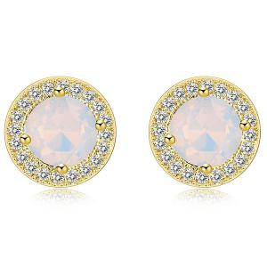 Round Artificial Cystal Inlaid Rhinestone Stud Earrings