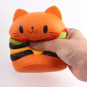 Decompression Cartoon Cat Hamburger Squishy Charms Toy - Orange - M