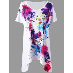 Splatter Paint Plus Size Cold Shoulder T-shirt