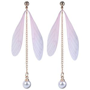 Faux Pearls Wing Long Drop Earrings - Light Pink - W59 Inch * L79 Inch