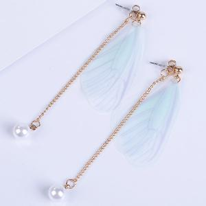 Faux Pearls Wing Long Drop Earrings