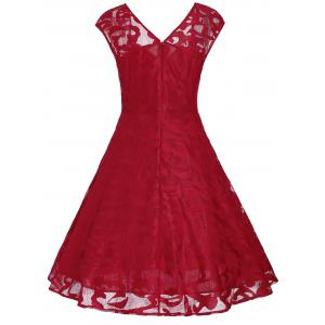 Vintage Sweetheart Neck Fit et Flare Dress - Rouge S